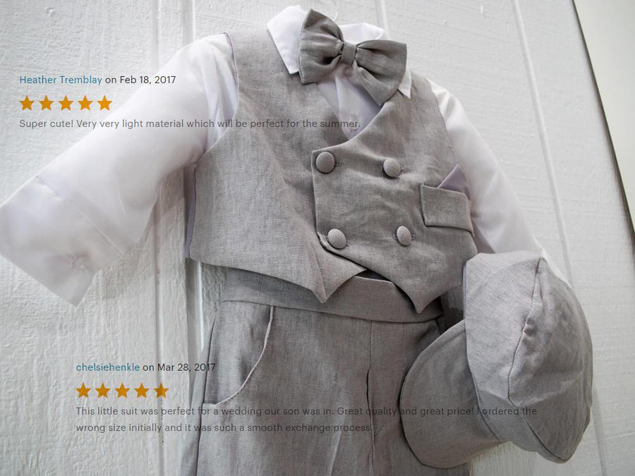 Newsboy Linen 5pc Vest Suit 6-24m
