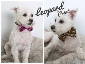 Animal Print Dog Bow Tie, Snake Skin, Brown Pink Leopard, Black Paw