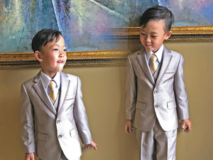 Boys Slim Fit Premium Champagne 5 Piece Suit, Wedding Ring Bearer, Birthday, Size 4-12