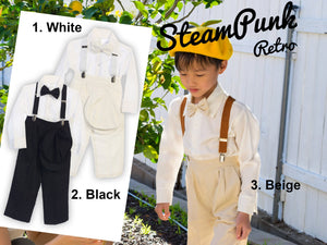 Baby to Little Boy Retro 5 piece Linen Set, Suspender Bowtie Hat Pants Shirt, White Black Beige, Ring Bearer Baptism Christening Size 6m-4T