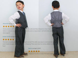 Boys Gray Vest Suit 4-Piece Set, Shirt in White Silver Pink Lilac Coral Indigo, Baptism Christening Wedding Ring Bearer, Size 1-12