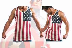 Men American Flag Graphic Poly Cotton Slim Fit Sports Summer Beach Sleeveless Tank Top Tee Shirts Grey