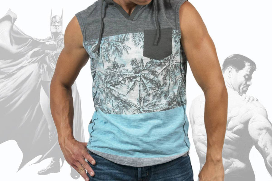Men Sleeveless V Neck Tropical Beach Print Resort Hoodie Sweatshirt Cotton Poly Slim Fit Casual Sports Gym Workout Active-wear Grey