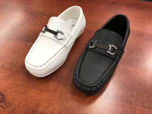 Toddler to Youth Boys Classic Black White Brown Vegan Faux Leather Loafer Shoes, Wedding Ring Bearer, Confirmation, Christianing, Baptism