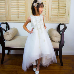 Girl Champagne White Premium Flower Lace Tulle Hi-Low Dress Gown Size 6