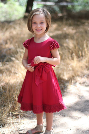 Girl Premium Satin Red Dress, Bow, Lace Hem, Pearl Cap Sleeves, Size 4