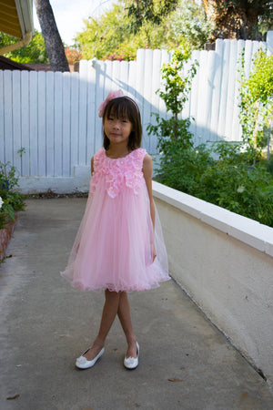 Girl Floral Pink Tulle Dress, Flower Girl, Pageant, Wedding, Party, Special Occasion