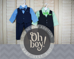 Baby to Little Boy Checkered Vest 4-Piece Set, Navy Blue, Black Green, Wedding Ring Bearer Page Boy, Party, Baptism Size 6 months - 4T