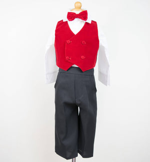 Baby Boy Red Velvet 4-piece Vest Suit with Bowtie, Black Pants, White Shirt, Christmas Wedding Birthday Size 6-12 months