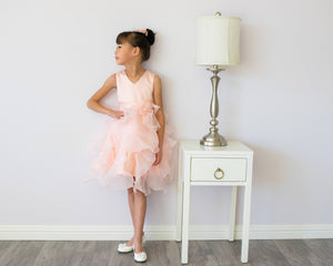 Girl Premium Blush Pink Satin Organza Ruffles Dress Gown, 100% cotton Lining, Flower Girl, Pageant, Wedding, Party