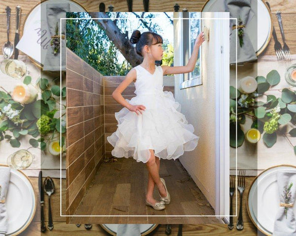 Girl Premium White Ivory Satin Organza Ruffles Dress Gown, Wedding Flower Girl, Special Occasion, Christening, Communion