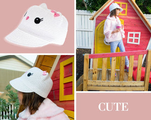 Cute Kitty Cat Straw Cap Cloche Hat Beige Brown, White, Pink, Hot Pink Fuchsia