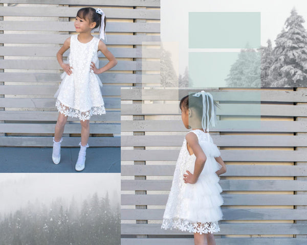 Girl Snow White Floral Lace Feathery Tulle Flaps Knee Length Dress, Wedding Flower Girl, Pageant, Party, Baptism, Christening, Communion