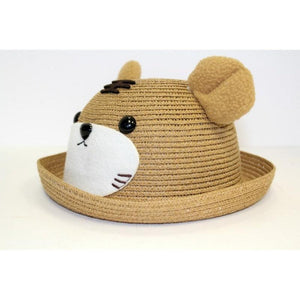 Straw Bowler Hat, Teddy Bear, Tiger, Brown, Kid Unisex Boy Girl