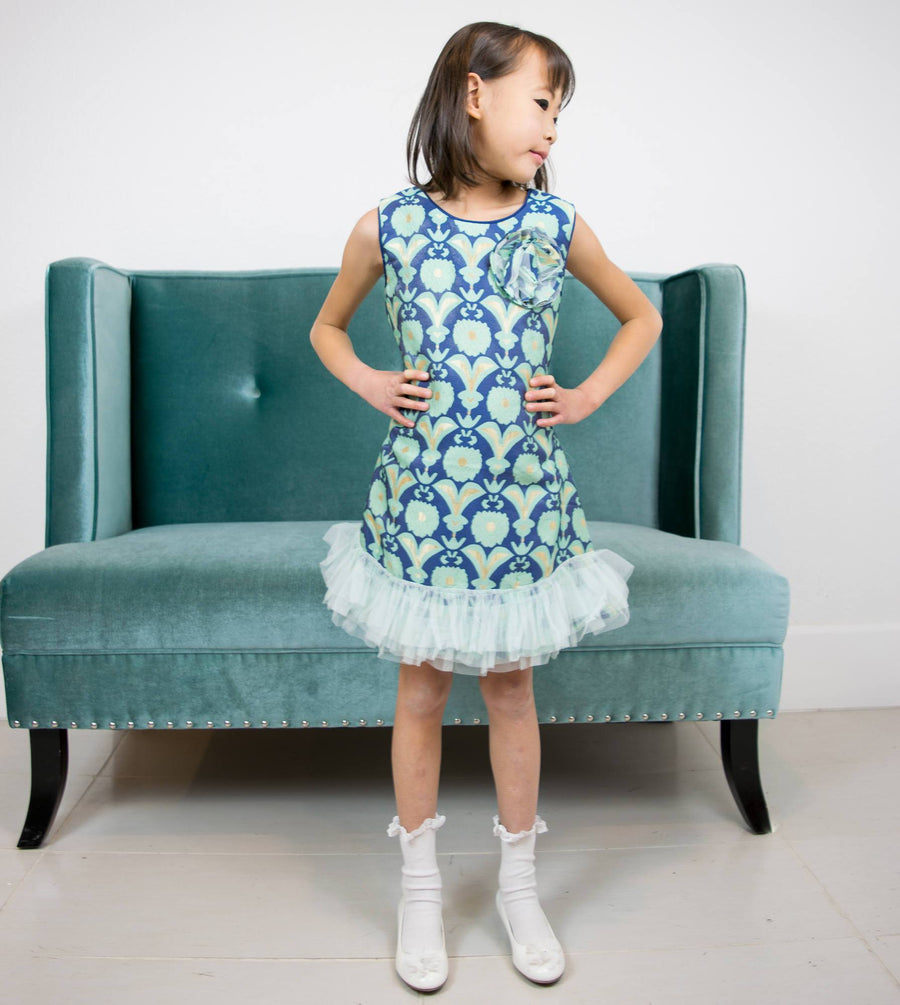 Royal Blue Teal Gold Classic Victorian Retro Jacquard Shift Dress, Flower Girl, Pageant, Wedding, Party, Special Occasion