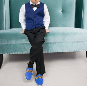 Toddler to Youth Boys Royal Blue Vegan Faux Leather Loafer Shoes, Wedding Ring Bearer Special Occasion
