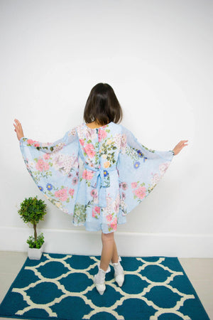 Girl Kimono Flowers Sky Blue Chiffon Dress, Flower Girl, Party, Special Occasion