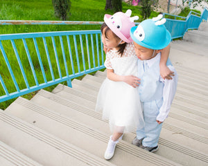 Straw Bowler Hat, Bunny Rabbit, Kid Unisex Boy Girl, Blue Pink