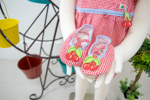 Baby Retro Cherry Red Checkered Romper Bodysuit and Booties Soft Sole Shoes 2 Piece Set