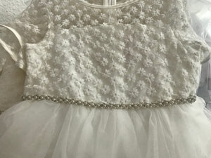 Girl Lace Top White Tulle Knee Length Dress, Pageant, Wedding Flower Girl, Baptism, Christening, Communion