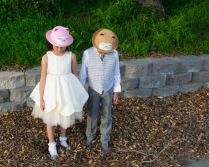 Straw Bowler Hat, Cat Kitty, Kid Unisex Boy Girl, Brown Pink