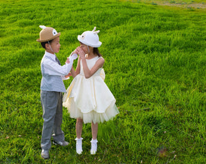 Straw Bowler Hat, Bunny Rabbit, Kid Unisex Boy Girl, Brown Ivory