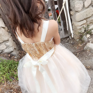 Little to Big Girl Sparkle Bustier Tea Length Dress, Wedding Flower Girl, Blush Pink, Champagne, Red, Indigo Blue, White/black, Size 2-12