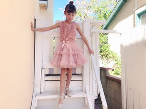 Girl Rosette Ruffles Tutu Tulle Mesh Fairy Fantasy Dress, Wedding Flower Girl Birthday Party, Dusty Rose