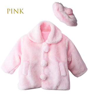 Toddler to Girl Cute Pink Faux Fur Bolero Coat Jacket with Pompom Beret Hat, Spring, Fall, Winter Outerwear