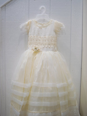 Victoria Organza Lace Sequin Full Length 2-piece Bolero and Dress Gown Ivory Size 6