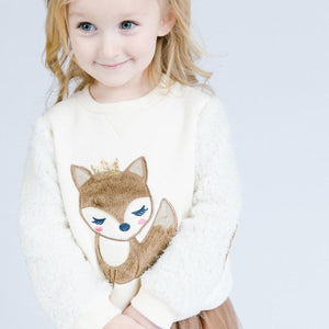 Girl Cute Cream Crew Neck Sweater with Faux Fur Crowned Fox, Sleeves and Elbow Patch, Party, Spring, Fall, Winter, Outerwear