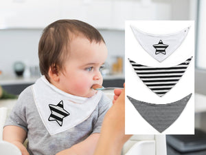 3 Baby Bandana Bibs, Cool Boy, Star Striped Black White, Gift Baby Shower, First Birthday