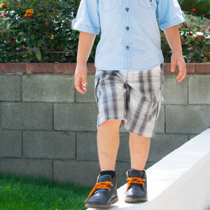 Boys Light Blue Preppy Shirt and Plaid Bermuda Shorts with Belt
