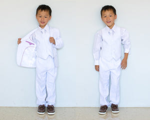 Little to Big Boy Slim Fit Premium 5-Piece Suit Tuxedo, White, Wedding Ring Bearer, Christening, Size 1-20