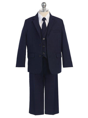 Baby Toddler to Big Boy 5-Piece Suit Tuxedo, Navy, Wedding Ring Bearer, Baptism, Size 6 months - 20