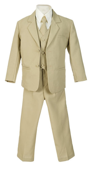 Baby to Little Boy 5-Piece Suit Tuxedo, Beige, Silver, White, Baptism, Christening, Wedding Ring Bearer, Size 6 months to Boy 7