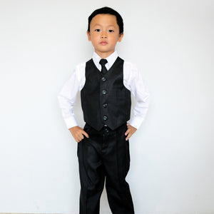 Boys Vest Suit White Shirt 4-Piece Set, Indigo, Black, White, Baptism Christening Wedding Ring Bearer, Size 1-12