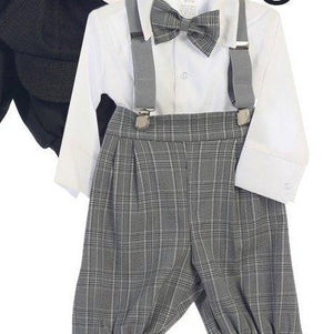 Baby to Little Boy Retro 5 piece Plaid Checkered Knickers Set, Brown Gray Navy Ivory, Wedding Ring Bearer Page Boy Baptism Size 6m - 4T