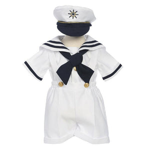 Baby to Little Boys Nautical Marine Sailor 5 piece Suit, Shorts, Cap, Suspender, Crossover Tie, Shirt, Birthday Party, Size 6 months - 5