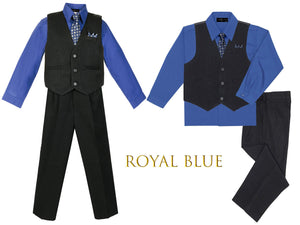 Baby Toddler to Big Boys Black Pinstripe Vest 4pc Suit Set with Pants Shirt Tie Hanky, Royal Blue Indigo, Wedding Ring Bearer, 6m-20