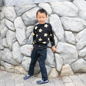 Boy Gold Star Black Cotton Sweater and Drop Crotch Sweatpants