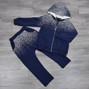 Boy Midnight Blue Galaxy Print Hoodie Jacket and Sweatpants Set