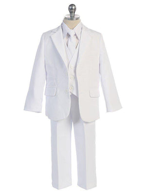 Baby Toddler to Big Boy 5-Piece Suit Tuxedo, White, Wedding Ring Bearer, Christening, Baptism, Size 6 months - 20