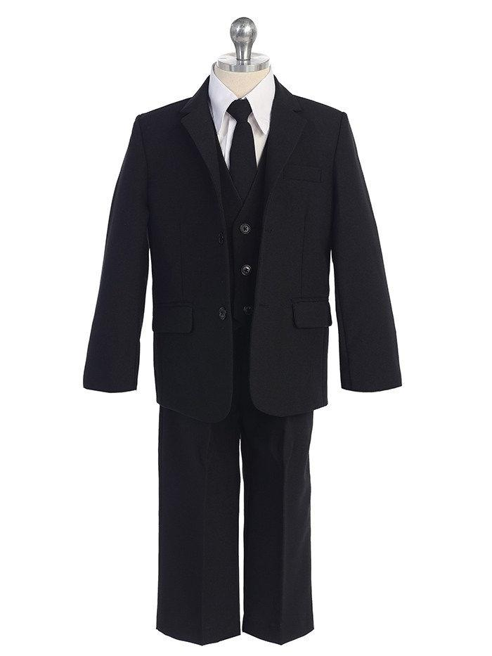 Baby Toddler to Big Boy 5-Piece Suit Tuxedo, Black, Navy, Wedding Ring Bearer, Baptism, Size 6 months - 20