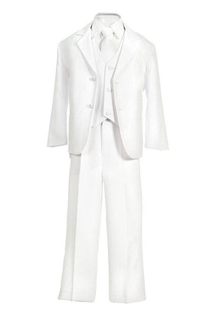 Baby Toddler to Little Boy 5-Piece Suit Tuxedo, White, Baptism, Christening, Wedding Ring Bearer, Size 6 months to Boy 7