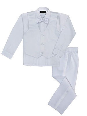 Baby to Big Boy 5-Piece Suit Tuxedo Satin Lapel, White, Baptism, Christening, First Communion, Wedding Ring Bearer, Size 6 months to Boy 20