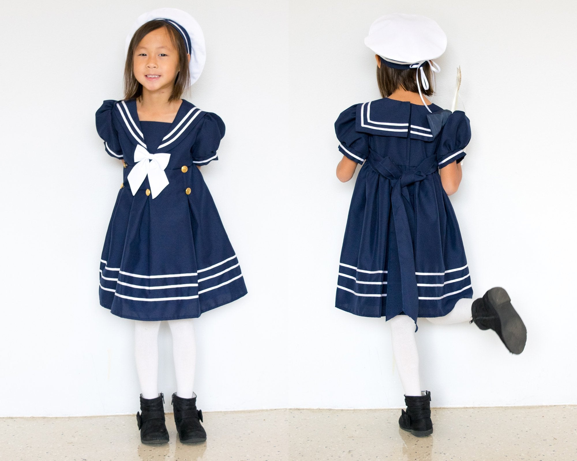 Baby Girl Toddler Formal Nautical Sailor Dress Navy Blue with Hat Size: 0-24M