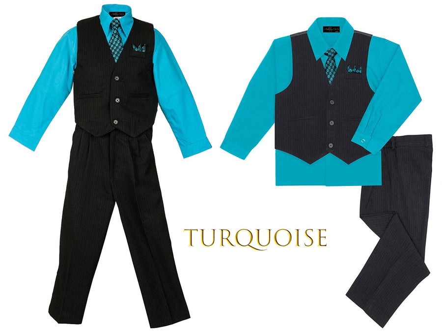Baby to Big Boys Black Pinstripe Vest 4pc Suit Set with Pants Shirt Tie Hanky, Aqua, Turquoise, Blue, Royal Blue, Wedding Ring Bearer, 6m-20