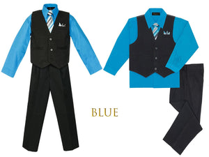 Baby Toddler to Big Boys Black Pinstripe Vest 4pc Suit Set with Pants Shirt Tie Hanky, Vivid Medium Blue, Wedding Ring Bearer, 6m-20