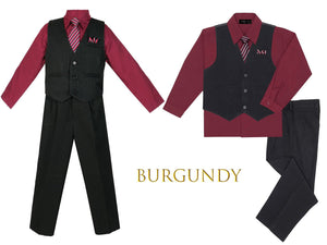 Baby to Big Boys Black Pinstripe Vest 4pc Suit with Pants Shirt Tie Hanky, Burgundy, Red, Coral, Hot Pink, Wedding Ring Bearer, 6m-20